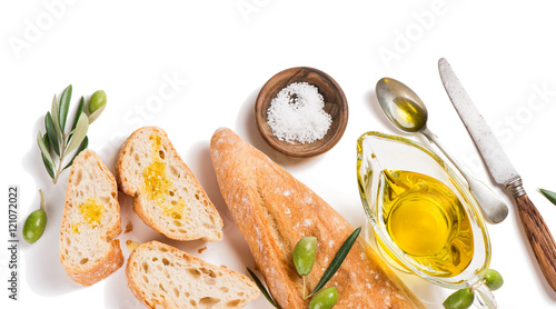 Photo  White bread with olive oil, above view