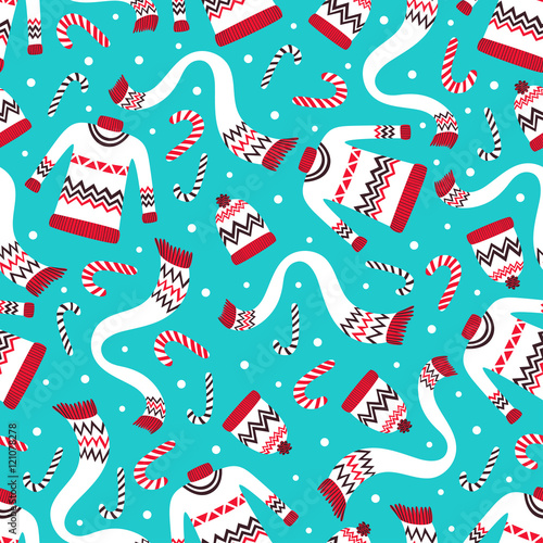 Vintage Christmas Seamless Pattern with Winter Sweaters, Hats and Scarf. Festive Holiday Seamless Pattern