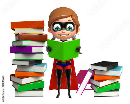 Photo  supergirl with Book stack