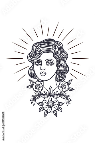 220b86351 Tattoo girl face in a retro style. Vector print in hipster style. Portrait  of a girl surrounded by flowers. Outline for tattoo girl's face on a white  ...