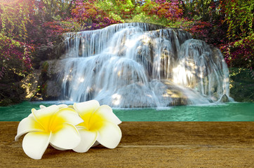 Fototapeta Wodospad Beautiful scenic of waterfall with autumn forest.
