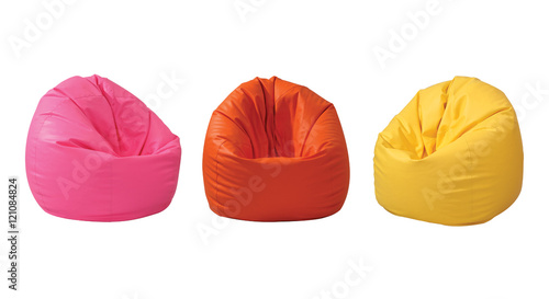 Photo Colorful beanbag isolated on white background with clipping path
