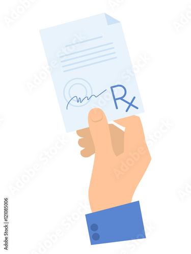 Fotografia  Hand holding a Rx prescription.
