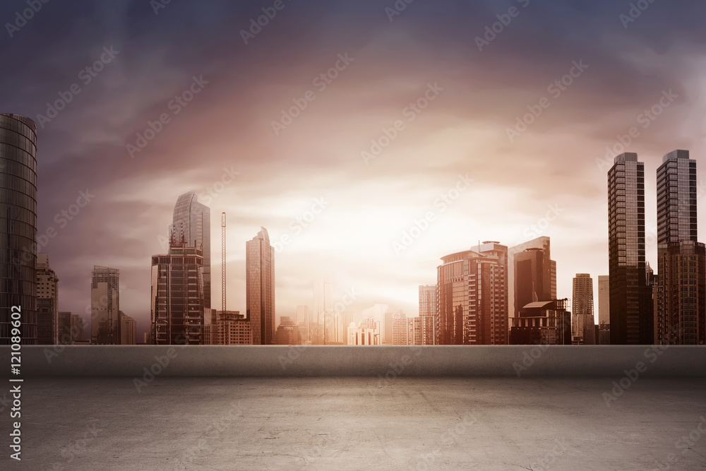 Fototapety, obrazy: The rising sun shining on the buildings
