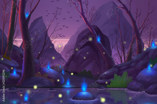 Foto op Plexiglas Aubergine Ghost Forest. Video Game's Digital CG Artwork, Concept Illustration, Realistic Cartoon Style Background