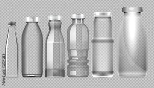 Fotografia  Vector set of transparent glass jar bottle for milk, juice and water mockup read