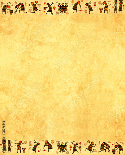 Grunge background with African ethnic patterns Wallpaper Mural