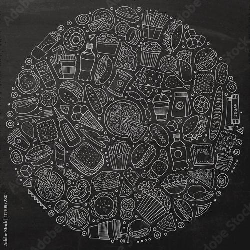 Fotografía  Set of Fast food cartoon doodle objects, symbols and items