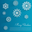 Abstract design with Snowflakes and Merry Christmas wishes on blue background. Vector