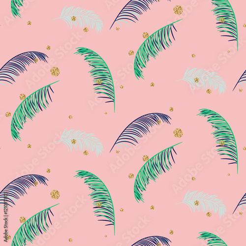 Fotografering  Green blue banana palm leaves seamless vector pattern on pink background