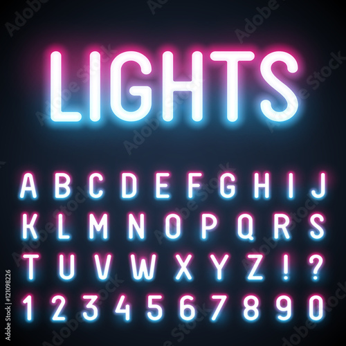 Glowing neon tube font. Retro text effect.