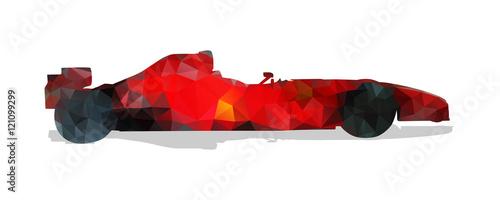 Obraz premium Samochód wyścigowy Formuły. Czerwona abstrakcjonistyczna geometryczna wektorowa ilustracja.