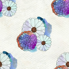 FototapetaSeamless floral pattern with asters and daisy flowers