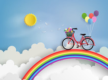 Bicycle Riding On A Rainbow