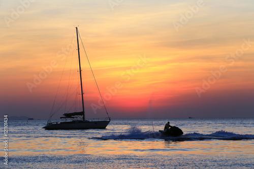 Foto op Aluminium Strand sea sunset