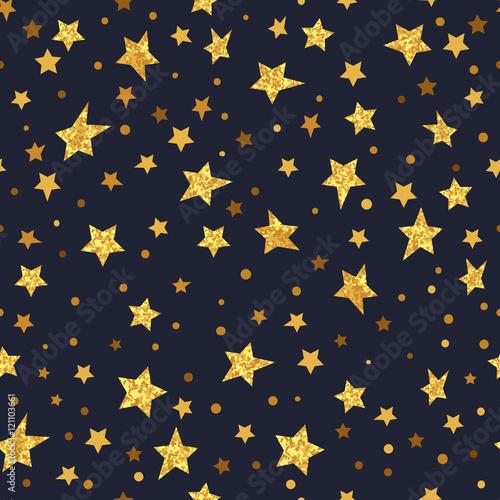 Cotton fabric Golden glittering stars seamless pattern. Vector sparkling night background.