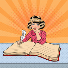 Pop Art Little Girl Writing In Big Book. Vector Illustration