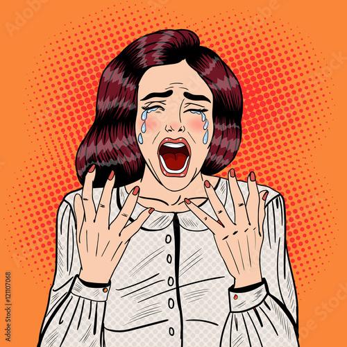 Cuadros en Lienzo Pop Art Depressed Crying Woman Screaming. Vector illustration