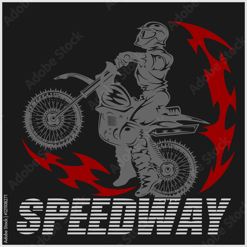 Printed kitchen splashbacks Motocross rider on a motorcycle - Illustration