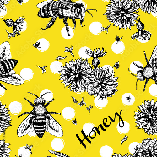 Cotton fabric Seamless vector pattern with bees and flowers.