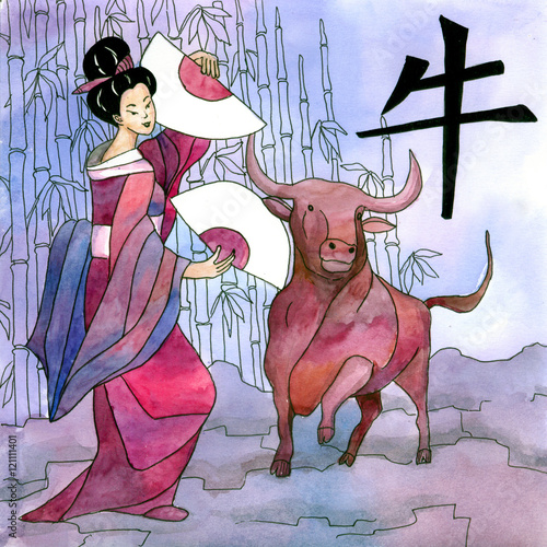 In de dag Kinderkamer Chinese horoscope 公牛 with geisha post card made by hand drawing watercolor. Chinese year horoscope