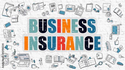 Fotografía  Business Insurance Concept. Multicolor on White Brickwall.