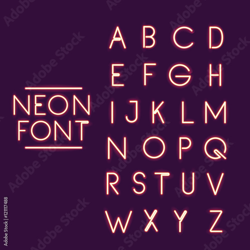 Neon Font Alphabet Icon Text Typography Decoration And Advertising Theme Colorful Design Vector