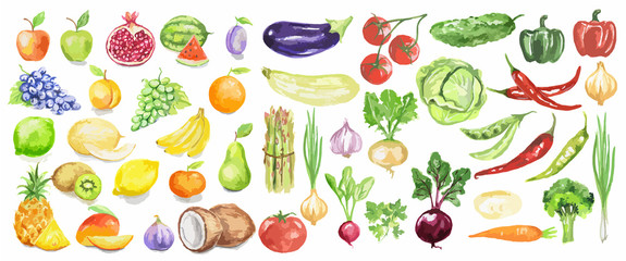 Panel Szklany Podświetlane Warzywa Watercolor fruit and vegetables set. Juicy and colorful fruit on white background including apples, coconut, lime, tomatoes, cucumber and more. Vegetarian diet food with vitamins.