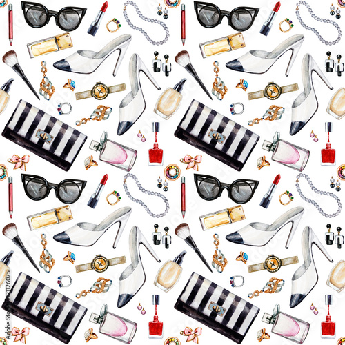 Cotton fabric Seamless watercolor pattern with various female accessories.