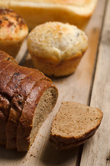 Bakery product. Delicious rye bread, tasty buns and homemade bre