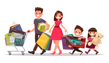 Happy Family With Shopping. Big Discount. Purchasing Of Goods An