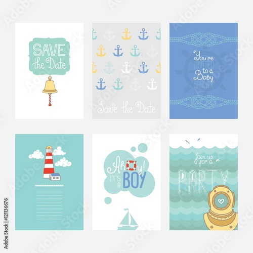 Photo Colorful cards with nautical design elements, set