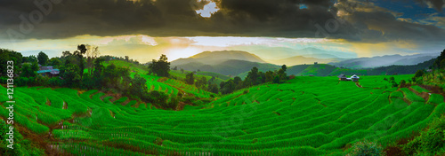 Sunset Ban Papongpieng Rice Terraces, Chiang Mai, North of Thail