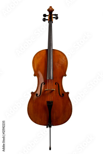 Vászonkép Cello isolated on white
