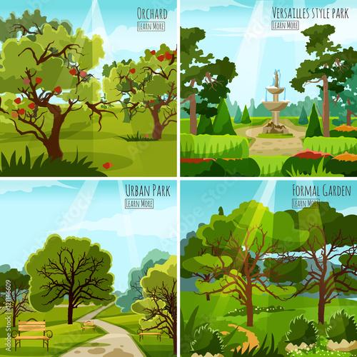 Poster Turquoise Garden Landscape 2x2 Design Concept