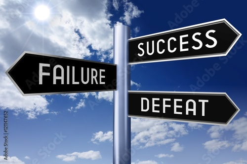 Fotografía  Signpost with three arrows - struggle concept (success, failure, defeat)