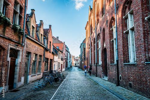 Poster Brugge Dans les rues de Bruges la Venise du Nord