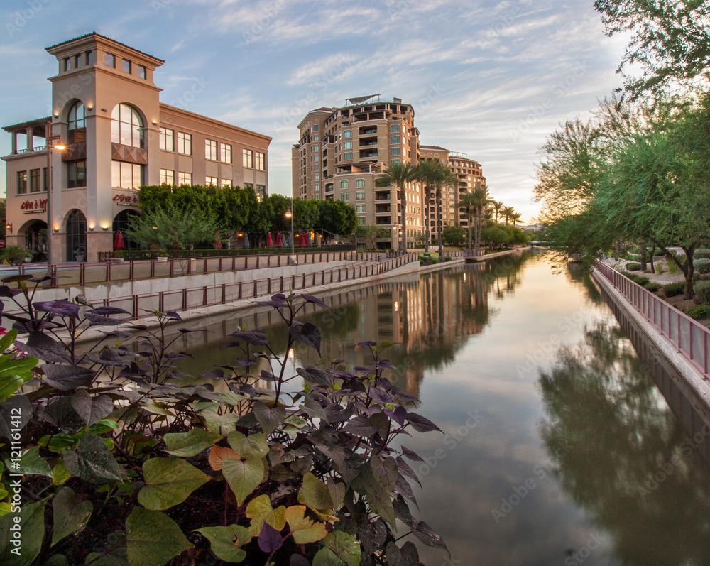 Fototapety, obrazy: Scottsdale Waterfront commercial development at the break of dawn