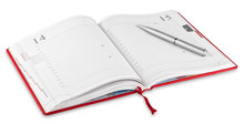 Opened Red Diary And Pen