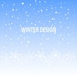 Winter design background, white snow on blue, vector illustration