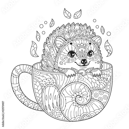 Hedgehog in cup. Adult antistress coloring page with animal in zentangle style. Doodle. Vector illustration for T-shirt print, tattoo, logo.