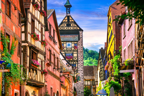Most beautiful villages of France - Riquewihr in Alsace Canvas Print