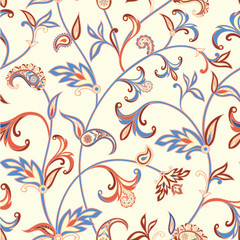 FototapetaFloral seamless pattern. Flower swirl background. Arabic ornament with fantastic flowers and leaves.