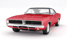 3D Isolated Red Muscle Car. 1970s American Vintage.