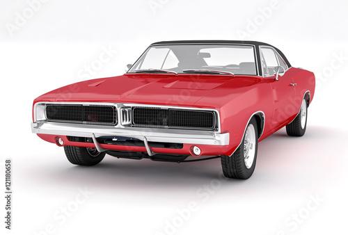 3d-na-bialym-tle-czerwony-samochod-miesni-amerykanie-lat-70