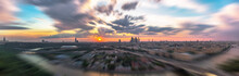 Tilt And Shift Sunset View Of Moscow Sunset Panorama