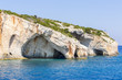 Blue sea caves on Zakynthos island, Greece, with crystal clear waters