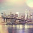 Vintage style view of Brooklyn Bridge and Manhattan skyline, Ne