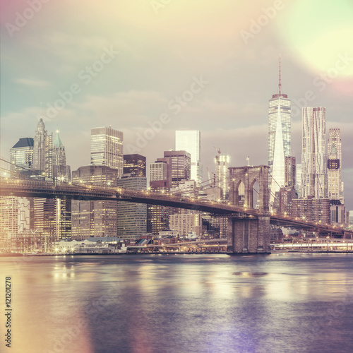 Keuken foto achterwand Verenigde Staten Vintage style view of Brooklyn Bridge and Manhattan skyline, Ne