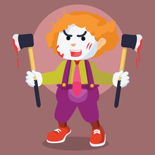 Crazy Clown With Axe Colorful